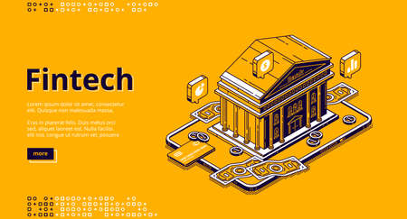 Fintech isometric landing page with bank building and money. Financial technologies, digital solutions for banking business. Software and mobile app for finance services, 3d vector line art web banner Иллюстрация