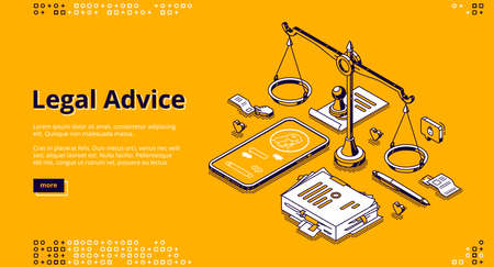 Legal advice isometric landing page. Online lawyer assistance for regulation legal issues and compliance to rules. Advocate attorney service, 3d vector line art banner with scales, phone and documents