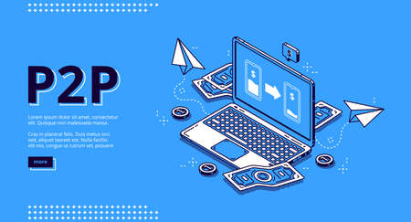 P2p isometric landing page, peer-to-peer lending, transfer money. One-rank and client server network, business concept. Laptop and money bills around on blue background, 3d vector line art web banner Иллюстрация