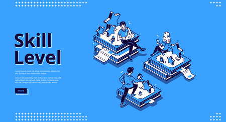 Skill level isometric landing page. Professional education and knowledge concept with tiny characters sitting on huge book piles using gadgets for reading and studying. 3d vector line art banner