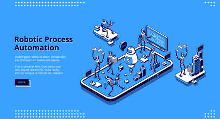 Robotic process automation banner. Innovation technologies of artificial intelligence in business work. Vector landing page with isometric illustration of robots working in office