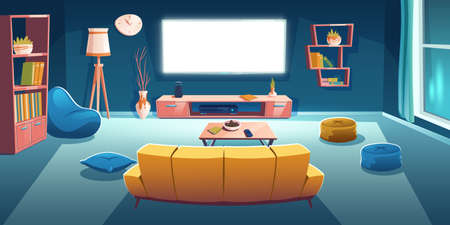 Living room interior with tv and sofa back view at night time. Dark apartment with couch front of working television set on wall, empty home design with bean bag chair, Cartoon vector illustration