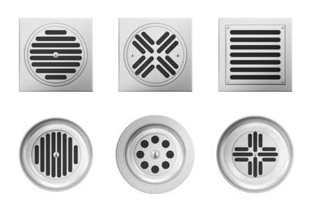 Metal drainage grates for shower or sink isolated on white background. Vector realistic set of square and round drain manhole with steel grid on sewer in bathroom or shower floor