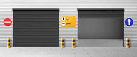 Garage doors, commercial hangar entrances with roller shutters and signs. Warehouse close, open boxes, Realistic 3d vector storage for car parking or rent, rooms for repair service with metal doorways