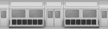 Train wagon interior with seats, windows and closed doors. Vector realistic background with glass windows, sliding doors, handrails and chairs in metro carriage. Empty subway wagon inside