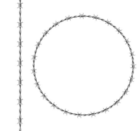 Steel barbwire set, circle frame from twisted wire with barbs isolated on white background. Vector realistic seamless border of metal chain with sharp thorns for prison fence, military boundary
