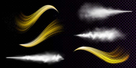 White dust spray and wavy flows of golden powder isolated on transparent background. Vector realistic set of smoke or vapor with particles splash from aerosol, stream of spraying cosmetic Ilustração