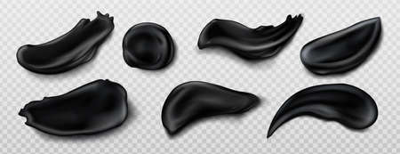 Black charcoal cream swatches isolated on transparent background. Vector realistic smears set of skincare cosmetics, bamboo toothpaste. Smudges of beauty product for face or body care