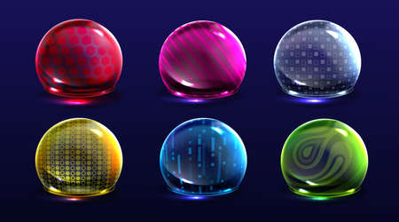 Force shield bubbles, energy glowing spheres or defense dome fields. Science fiction various deflector color elements, firewall absolute protection isolated on background, Realistic 3d vector set 矢量图像