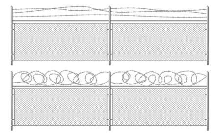 Grid fence with barbed wire. Two segments mesh rabitz with rhombus cell, metal perimeter protection barrier construction separated with steel poles on white background Realistic 3d vector illustration