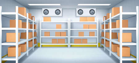 Warehouse interior with boxes on racks, ventilation and illumination. Logistics, cargo, parcel storage postal service. Inner view of storehouse with goods on shelves. Realistic 3d vector illustration