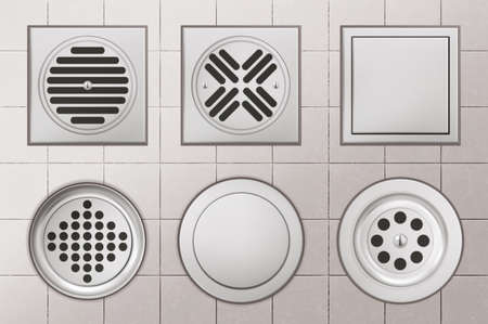 Shower drainage holes with stainless covers on white tiled floor background, drain sewers of round and square shape for toilet, bathroom or basin top view, Realistic 3d vector illustration, icons set