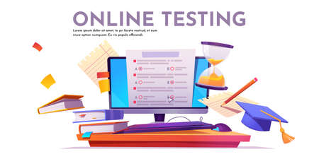 Online testing banner. Concept of e-learning, examination on computer. Vector illustration of monitor with checklist form for exam, survey or quiz, books and hourglass Ilustrace