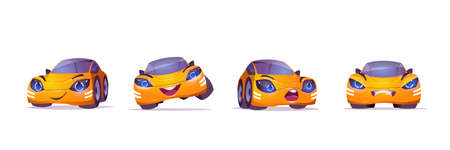 Cute yellow car character in different poses. Vector set of cartoon mascot, funny automobile happy, smiling, angry and surprised. Creative emoji set isolated on white background Illustration