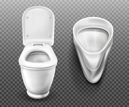 Toilet bowl and urinal for bathroom, restroom, modern male WC. Vector realistic set of white ceramic pissoir and lavatory with flush tank and open seat lid isolated on transparent background