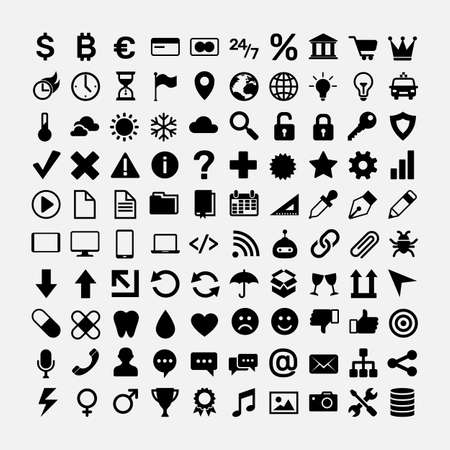 Set of black icons for website design. Business, money and finance, currency, travel and journey, weather, data security and electronics devices, health, internet communication, music vector symbols