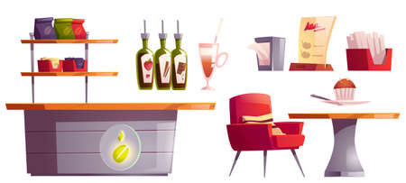 Coffee house or cafe interior stuff set. Desk with bean emblem, table with armchair, shelf with package, cup, topping in bottles bar cafeteria furniture, restaurant court. Cartoon vector illustration 矢量图像