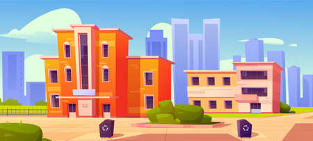City houses, street with low residential buildings and recycling litter bins in front yard. Home facades with green bushes and tiled paths on megalopolis skyscrapers view, Cartoon vector illustration 矢量图像