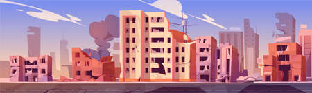 City destroy in war zone, abandoned buildings with smoke. Destruction, natural disaster or cataclysm consequences, post-apocalyptic world ruins with broken road and street cartoon vector illustration 矢量图片