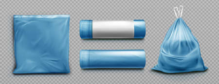 Blue plastic bag for trash, garbage and rubbish. Vector realistic mockup of polyethylene trashbag in roll, empty and full of waste. Sack with refuse with tied string isolated on transparent background