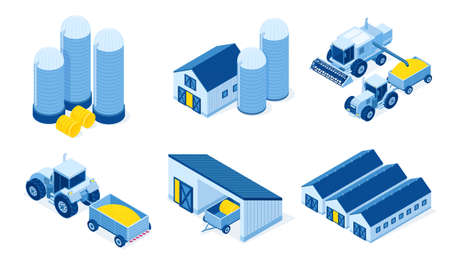 Isometric storehouse, granary and tractor machinery. Warehouse buildings for grain and hay harvest storage, industrial hangars and agricultural vehicles for farming works, 3d vector illustration set
