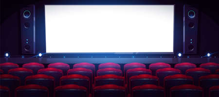 Movie theater, cinema hall with white screen and rows of red seats. Vector cartoon interior of dark cinema auditorium with light blank screen, chair backs, projectors and sound speakers Ilustração