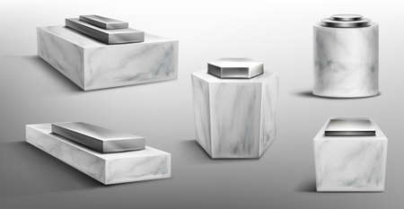 Marble pedestals with metal platform on top for display product, exhibit or trophy. Realistic set of empty steel podiums on stone base different shapes for showcase, museum or exposition