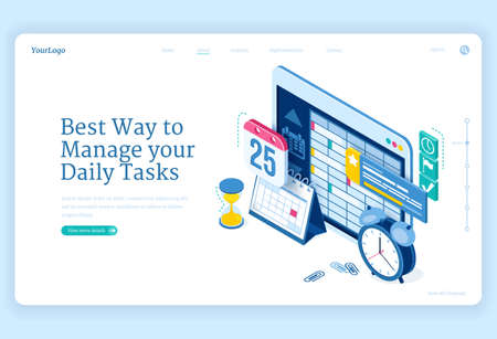 Daily tasks management banner. Software and strategies for productive planning work or education. Landing page with isometric clock, calendar and schedule on tablet screen Illusztráció