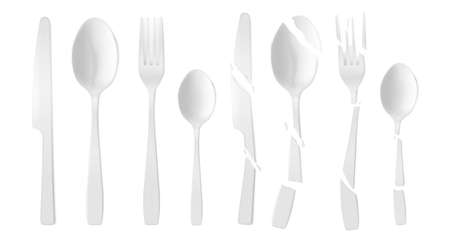 New and broken plastic cutlery isolated on white background. Vector realistic set of cracked white flatware, disposable plastic fork, spoon and knife. Shattered tableware