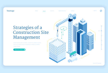 Strategies of construction site management banner. Engineering, manage and development project of house build. Landing page with isometric illustration of unfinished building and crane Illusztráció