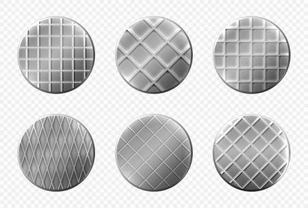 Nails heads top view, steel metal pins with checkered ornament, spikes hardware grey caps with grooves, new hobnails isolated on transparent background. Realistic 3d vector illustration, icons set