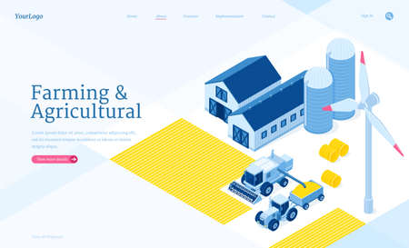 Farming and agricultural isometric landing page. Storehouse, granary, tractor and wind mill. Warehouse buildings for grain and hay harvest storage, industrial hangars and vehicles 3d vector web banner