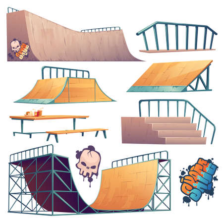 Skate park or rollerdrome constructions for skateboard jumping stunts, graffiti and furniture. Quarter and half pipe ramps with railings, speed bumps and picnic bench Cartoon vector illustration set 矢量图像