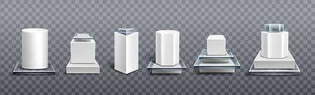 Pedestals from white plastic and glass for display product, exhibit or trophy. Vector realistic set of empty modern podiums different shapes, platforms for showcase, museum or exposition