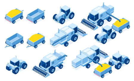 Isometric tractor machinery for grain and hay harvest, industrial and agricultural vehicles for farming works, 3d vector illustration set Illustration