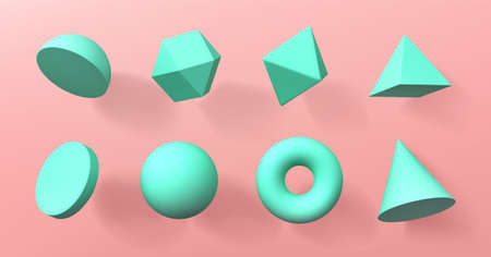 Geometric 3d shapes hemisphere, octahedron, sphere and torus, cone, cylinder and pyramid with icosahedron. Basic voluminous geometry figures for education, Realistic vector illustration, icons set