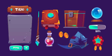 Magic game interface with book of spell, magic wand and bottle with potion. Vector cartoon set of gui elements for game about witchcraft with experience bar, buttons, wizard hat and treasure chest