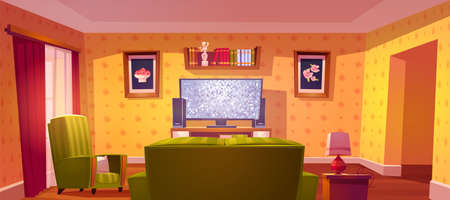 Living room interior with sofa and tv back view, bookshelf and armchair. Cozy apartment with couch front of television set on stand, pictures on wall empty home design, Cartoon vector illustration
