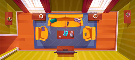 Living room interior top view. Apartment with sofa, tv, armchairs and coffee table with lamp and fashion magazine, potted plant on shelf. Empty home with curtained windows, Cartoon vector illustration 向量圖像