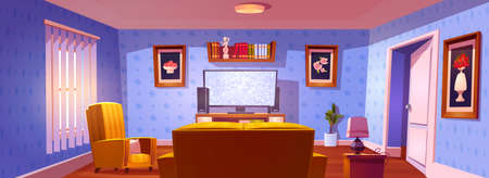 Living room interior with rear view to sofa, chair and glowing tv screen. Vector cartoon illustration of lounge room with yellow couch, plasma television, bookshelves and pictures on wall 向量圖像