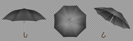 Black umbrella, parasol top, side and front view. Waterproof accessories for rainy autumn weather, design element isolated on transparent background. Realistic 3d vector illustration, icons set 向量圖像