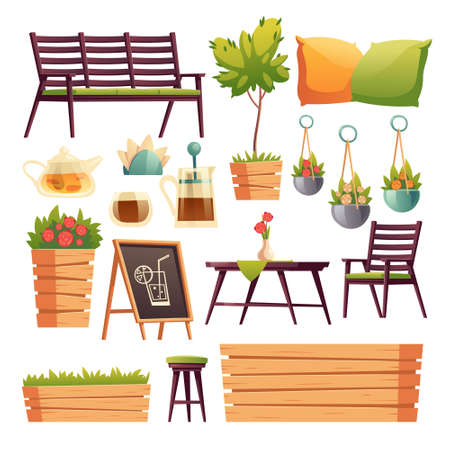 Cafe or restaurant terrace with wooden bar counter, seats, flowers and plants. Vector cartoon set of furniture for outdoor cafeteria, chair, bench, table, tea pot and cup isolated on white background