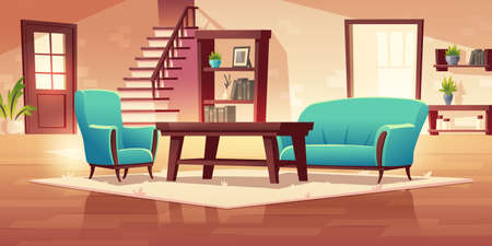 Rustic house hallway interior with wooden stairs and furniture coffee table, shelf, bookcase, couch and armchair with potted plants. Apartment or home decor in rural style cartoon vector illustration 向量圖像
