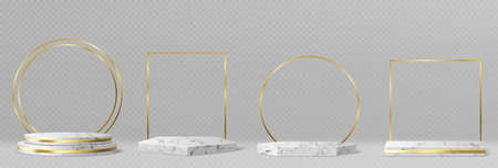 Marble pedestals or podiums with golden frames and decor, round and square borders on geometric empty stages, stone exhibit displays for product presentation, gallery platforms Realistic 3d  set