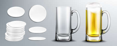 Empty and full of beer glass mug and white circle coasters in stack and top view. Vector realistic mockup of beer with foam in clear mug and blank cardboard mats Stock Illustratie