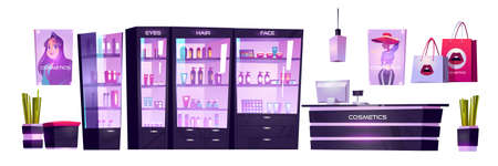 Cosmetic shop with products for makeup, skincare and perfume in showcases. Vector cartoon interior set of beauty store with cashbox on counter, shelves with goods, posters and bags