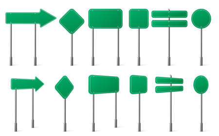 Green road signs different shapes on metal post front and angle view. Vector realistic set of blank traffic sign boards directions, location or notice on highway, city street or car road