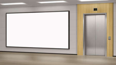 Realistic elevator with close doors and ad poster screen on wall, perspective view mockup. Office or modern hotel hallway, empty lobby interior with lift and blank display, 3d vector illustration