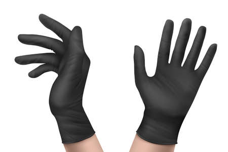 Nitrile gloves on hand front and side view. Black rubber disposable latex personal protective equipment for health or laboratory workers isolated on white background, Realistic 3d vector illustration