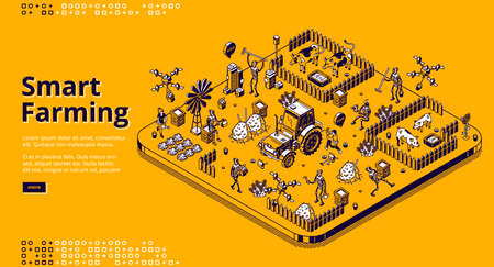 Smart farming isometric landing page with robots and people working on farm or field, cyborgs feeding cattle, harvesting. Automated village agriculture, animal husbandry 3d vector line art web banner 向量圖像